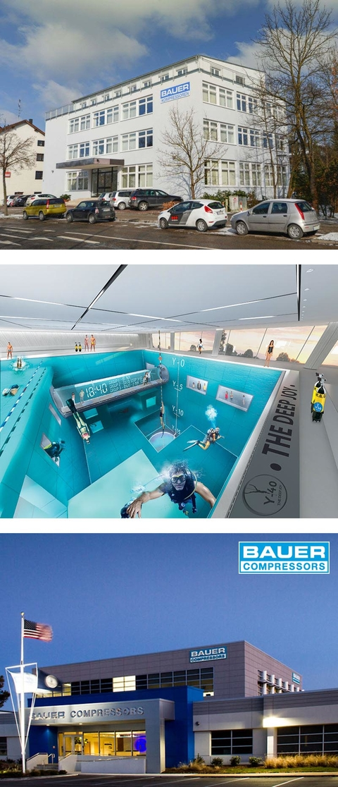 2014 - Headquarter BAUER KOMPRESSOREN GmbH Germany, Y40 deepest indoor diving pool and BAUER COMPRESSORS Inc. expanded